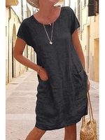 summer loose solid color pocket cotton and linen dress
