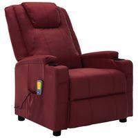 vidaxl sillon de masaje reclinable cuero sintetico rojo vino tinto