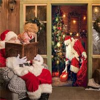 wallpaper door hanging gifts christmas tree santa claus sends gifts home festival self-adhesive vinyl decor mural door stickers