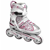 avigo - patines en linea ajustables blanco y rosa - talla 3640