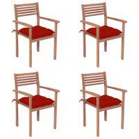 vidaxl sillas de jardin con cojines 4 uds madera maciza de teca rojos