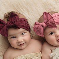 baby big bow soft nylon headbands flower print nylon turban hairband oversize bunny bow headwrap baby girl head wrap accessories