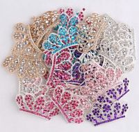 5pcs diy bling alloy crown button for baby girls women headband wedding party bride headwear hair embellishment buttons