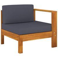 vidaxl sofa central con 1 reposabrazos madera acacia gris oscuro