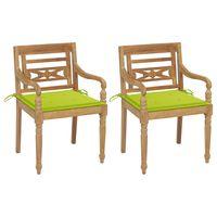 vidaxl sillas batavia 2 uds teca maciza con cojines verde brillante