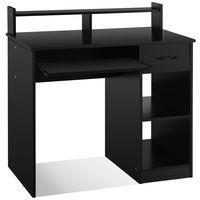 costway escritorio para ordenador con cajones repisas y bandeja para teclado para casa y oficina negro 90 x 48 x 91 5 cm