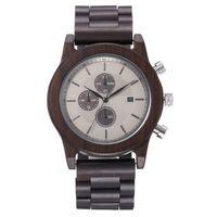 reloj de madera para hombre redear reloj de cuarzo analogico material de sandalo relojes casuales ultraligeros con calendario reloj de pulsera vintage cronografo