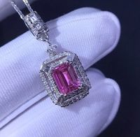 fine jewelry customized size real 18k white gold au750 100 natural pink sapphire gemstones pendants for women necklace