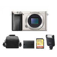 sony a6000 cuerpo plata  tarjeta sd de 32 gb  bolsa de la camara  np-fw50 bateria  hvl-f20m flash