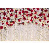 romantico boda telones de fondo de fotografia de pared de rosa roja fondo de foto floral