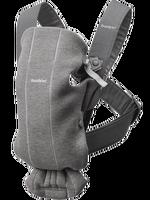 babybjorn mochila porta bebe mini - gris oscuro jersey 3d