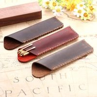 high quality genuine leather pen pouch holder double pencil bag case sleeve for fountain ballpoint pens travel office stationery