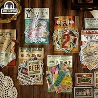 mrpaper 60pcs the past of retro sticker bag writing paper deco labels decals scrapbooking planner decorative school stationery