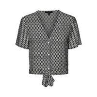 blusa de manga corta con lacitos