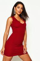 vestido bodycon con borde festoneado rojo