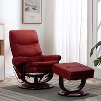 vidaxl sillon reclinable de masaje cuero pe madera curvada vino tinto