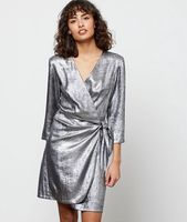 vestido cruzado plateado - eloria - 42 - plata - mujer - etam