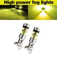 2 pcs car h3 100w fog light 2323 led drl lamp bulb 4300k for car rv truck atv fog driving lights daytime running light drl