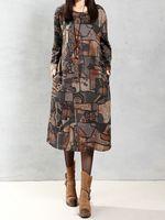 vendimia mujer manga larga suelta con cuello en o impreso kaftan vestido