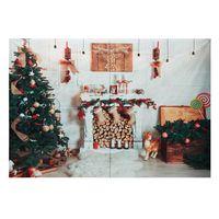 8x6ft arbol de navidad chimenea manta blanca fotografia telon de fondo estudio prop fondo