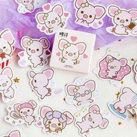 45pcsset cute big ears cartoon pink pig decorative stickers scrapbooking stick label diary stationery album stickers