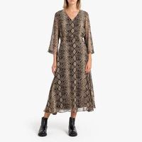vestido de manga larga con estampado serpiente camila