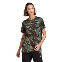adidas camiseta manga corta essentials boyfriend camo xs legacy green  dark brown  white