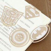 4 pcsset cartoon super hero captain american superman bat metal bookmarks clips page holder stationery office school supplies