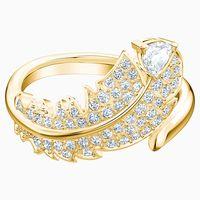 anillo con motivo nice blanco bano en tono oro