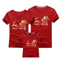 christmas mom dad t-shirt christmas deer print family matching christmas tshirt mommy daddy baby short sleeve red shirt clothes