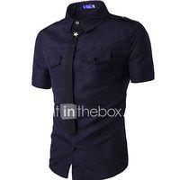 hombre simple casualdiario verano camisacuello camisero un color manga corta algodon azul  blanco  negro  verde medio