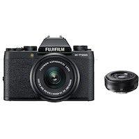 fujifilm x-t100 negro  xc 15-45mm f35-56 ois pz negro  xf 27mm f28 negro