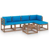 vidaxl juego de muebles de jardin 6 piezas con cojines azul claro