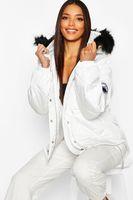 chaqueta acolchada con cintura sintetica y adorno de piel sintetica blanco