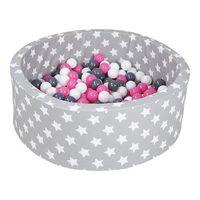 knorr toys ball bath soft - gris white stars inklusive 300 bolas  gris  creme rosa - de colores