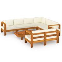 vidaxl muebles de jardin 8 pzas cojines blanco crema madera de acacia
