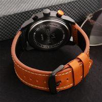 reloj de cuarzo deportivo de cuero de la pu de la moda de los hombres de curren reloj casual reloj de cuarzo resistente al agua de lujo