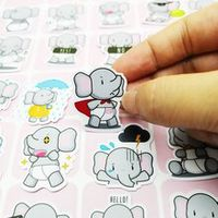 2040pcs cartoon funny cute elephant sticker diary sticker scrapbook decoration pvc stationery sticker random not repeat