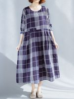 plus tamano vendimia patchwork a cuadros o-cuello de manga larga casual vestido