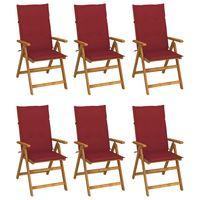 vidaxl sillas de jardin plegables 6 uds y cojines madera maciza acacia