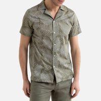 camisa recta con estampado tropical