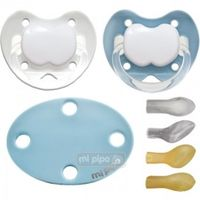 pack 2 chupetes con broche personalizados blue 6 meses