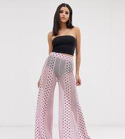 pantalones de pernera ancha con estampado de malla de mezcla de lunares de asos design tall