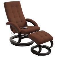 vidaxl sillon masaje reclinable y reposapies tela tacto de ante marron