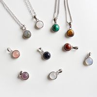 inalis simple temperament design s925 sterling silver pendant agate amethyst tiger eye opal red stone sandstone without chain
