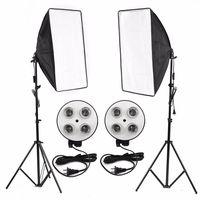 photo video studio lighting kit 4-socket e27 lampara soporte softbox light stands