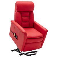 vidaxl sillon de masaje reclinable de cuero sintetico rojo