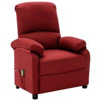vidaxl sillon de masaje reclinable de tela rojo tinto