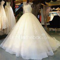 vestido de bola de la bola cuello de la capilla tren de la capilla vestido de boda de tul con rebordear por nupcial bordado