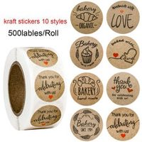 500pcsroll natural kraft thank you stickers seal labels 1in round handmade with love stickers teacher office stationery sticker
